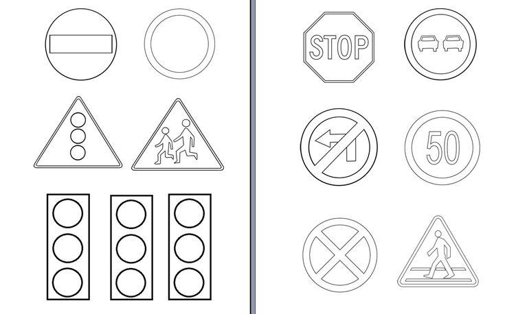 Znaki drogowe do kolorowania