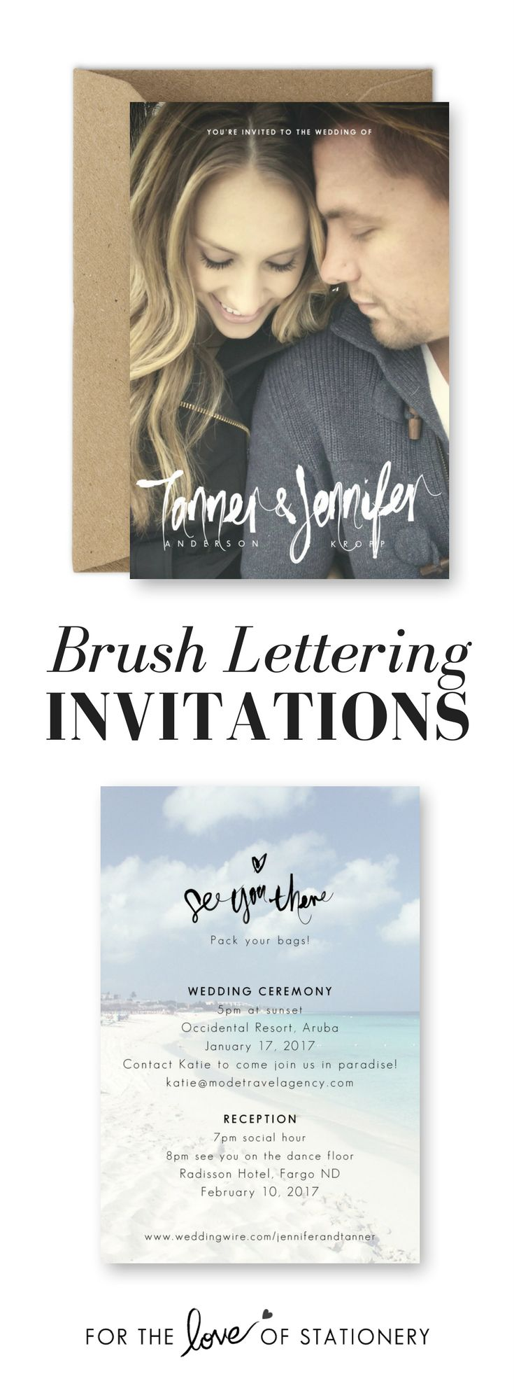 Brush Lettering Wedding Invitations | Destination Wedding Invites | Beach Wedding Inspiration