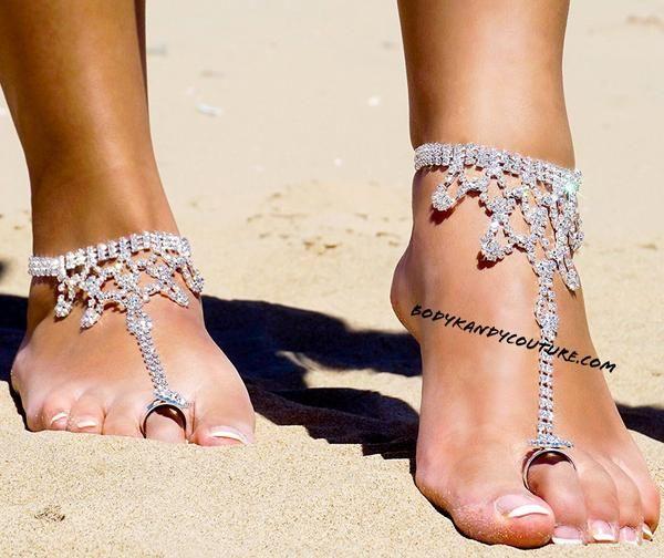 Bridal Foot Jewelry for Beach Wedding Pearls Vine Foot Wear