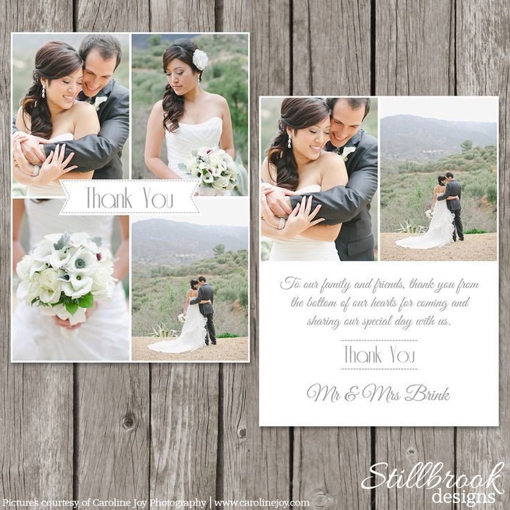 how to write thank you notes for wedding gift cards%0A Wedding Thank You Card Template  Bridesmaid Photo Thank You Note  TY   by  StillbrookDesigns on