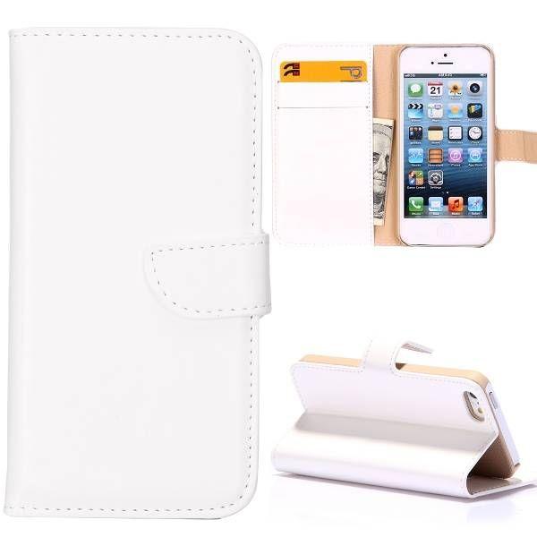 Wit lederen portemonnee hoesje voor iPhone 5 / 5s