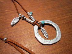anillo de collar de cuero, collar de eternidad, joyas Boho, joyas de Bohemia…