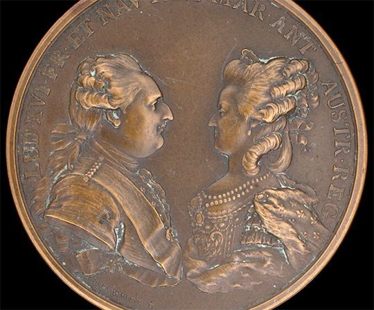 A medal coined in 1781 to commemorate the birth of the Dauphin .