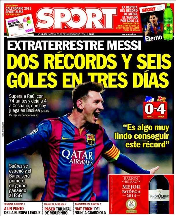 Portada Sport (26/11/2014) - Extraterrestre Messi - FC Barcelona Noticias