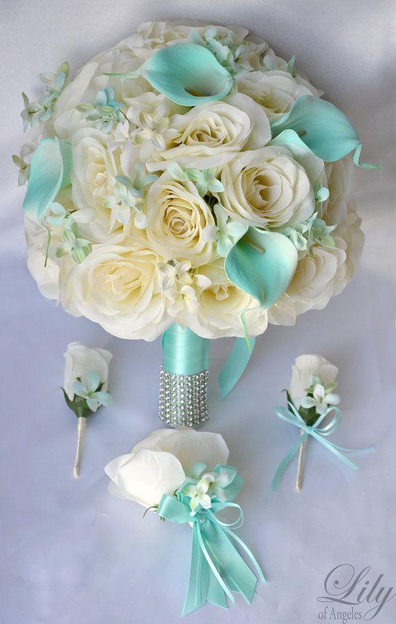 17 Piece Package Silk Flower Bouquet Wedding by LilyOfAngeles