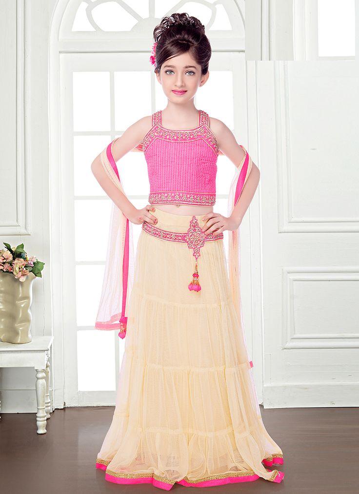 Admirable Cream And Pink Net Kids Lehenga Choli