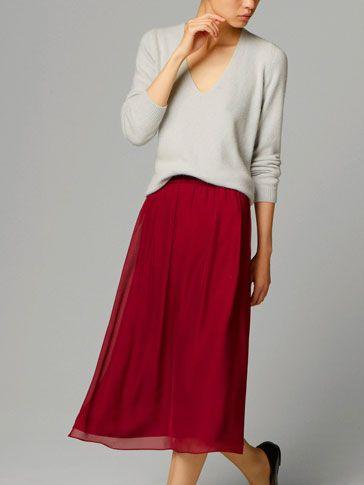 MAROON VELVET SKIRT - Dresses & Skirts - WOMEN - United States
