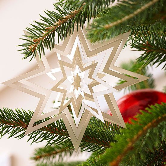 This simple snowflake #ornament is made from a single piece of cardstock. More paper ornaments: http://www.bhg.com/christmas/ornaments/pretty-christmas-ornaments-made-from-paper/?socsrc=bhgpin102312papersnowflake#page=9