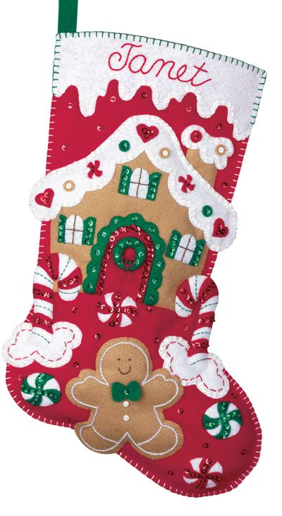 Felt Christmas Stocking Kits | Bucilla Felt Applique Christmas Stocking Kit: Gingerbread House