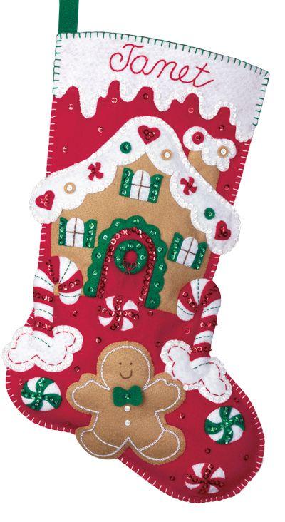 Felt Christmas Stocking Kits | Bucilla Felt Applique Christmas Stocking Kit: Gingerbread House