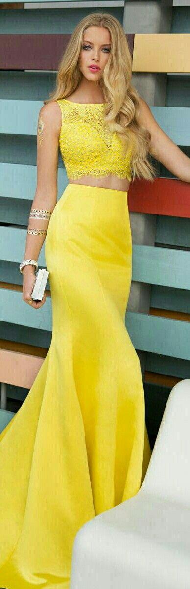 ❤Yellow 2-Piece Prom/University Graduation Day/Evening Dress or Gown, Halter has Lace w. Rhinestones x Cassiedress #015122❤