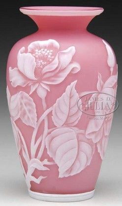 glass, England, An English, Webb Cameo [glass] vase, pink background decorated with a deep acid cut back design of oriental poppies with full foliage in white. Vase has a trademark Webb butterfly cameo to side of vase. finishing this baluster form vase with flared lip is a band of white at top and bottom. circa 1875-1925
