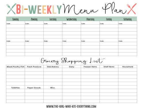 Weekly Dinner Menu Template - FREE DOWNLOAD - Aashe