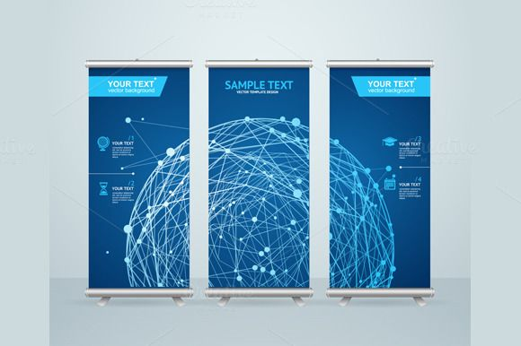 Roll Up Banner Stand Design. Vector by Stacy on Creative Market