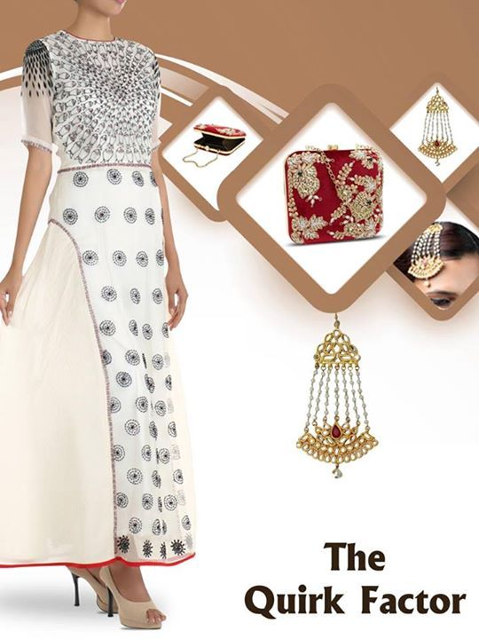 What say #Ekatrrians, Isn't This Maroon Velvet Clutch With Zardosi and Stones Work Along With Red Traditional Polki Passa Complimenting This White Fish Pond Dress.Shop Now !! http://www.ekatrra.com/