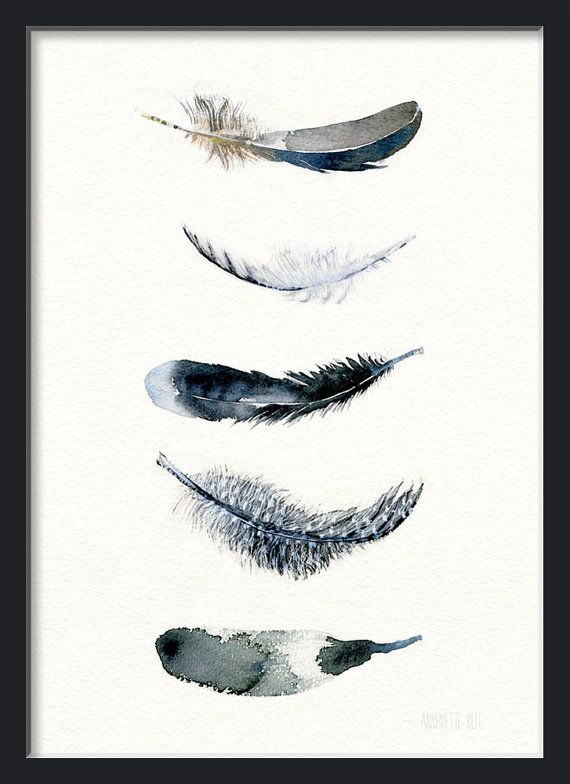 Boho art of Watercolor Feather Print 5 Feathers by TheClayPlay