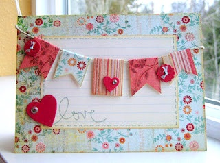 Banner card front using various floral scrapbook papers