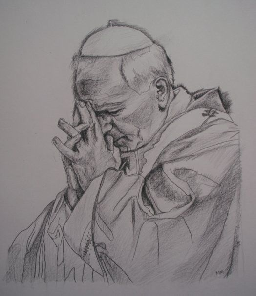 """""""Praying Pope John Paul II"""" is an original charcoal drawing by artist Megan Martin. Originals or Prints prices include frame and matting. Image is 8""""x10"""". Prints- $35"""