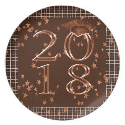 2018 Graduation Cap Stars on Graph Paper Orange Plate - paper gifts presents gift idea customize