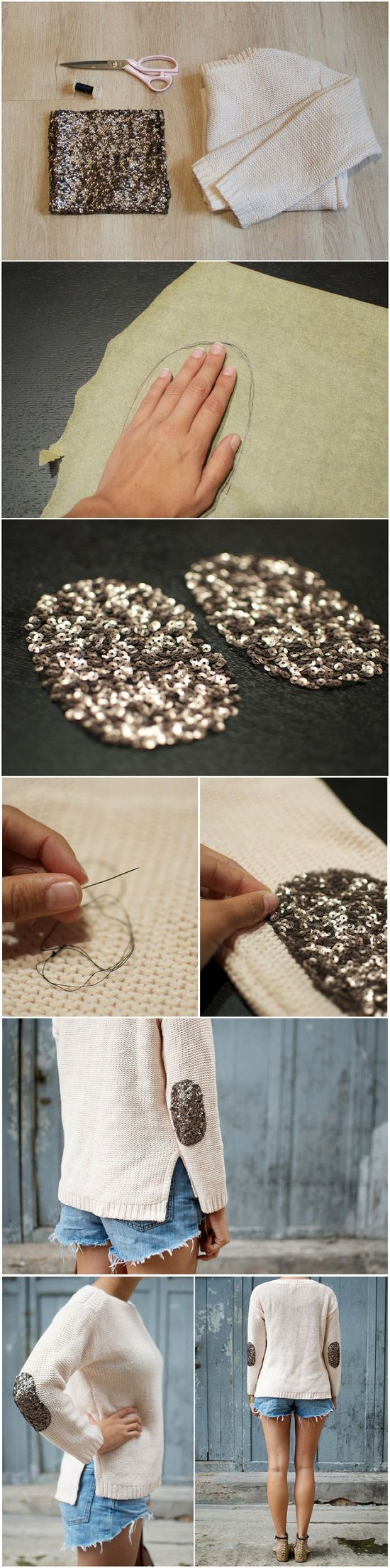 Adorable! Sequin elbow patches from a pair