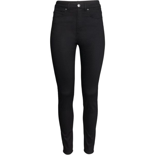 H&M Trousers High waist ($31) ❤ liked on Polyvore featuring pants, jeans, bottoms, trousers, black, high waisted trousers, slim leg pants, h&m pants, high rise black pants and black pants