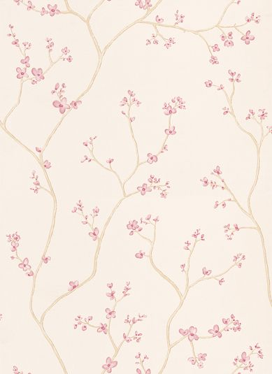A delicate floral-trail design of oriental blossoms in a pretty pink shade on a creamy beige background. Perfect for adding height and stylish beauty to your walls. Please request a sample for true colour match.