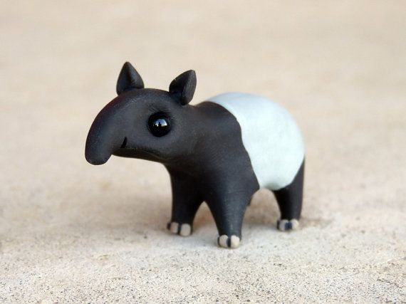 Tiny tapir  Handmade miniature polymer clay by AnimalitoClay, $24.00 - I NEED THIS!