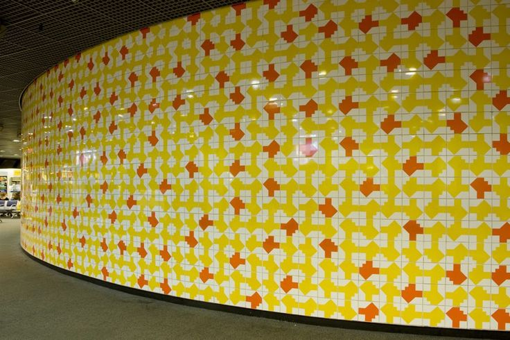 Brazilian artist Athos Bulcão - Love this! Painel tile Aeroporto Juscelino Kubitschek International, 1993. . Photo: Edgar Cesar