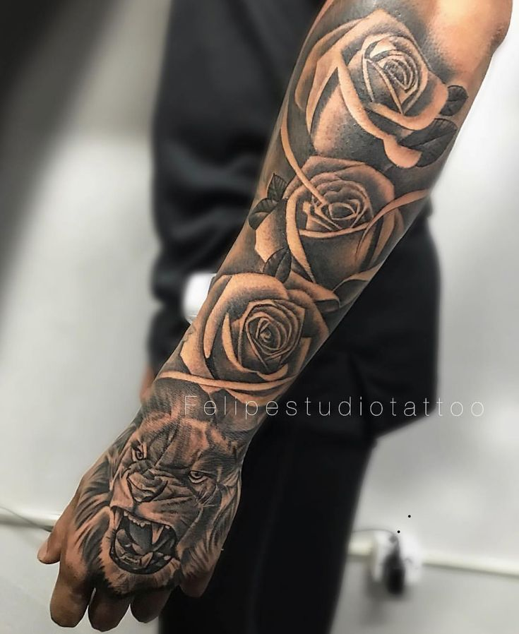 Tiger roses men forearm tattoo