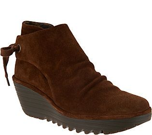 0a784e8452661e FLY London Suede Ruched Ankle Boots with Tie Detail - Yebi ...