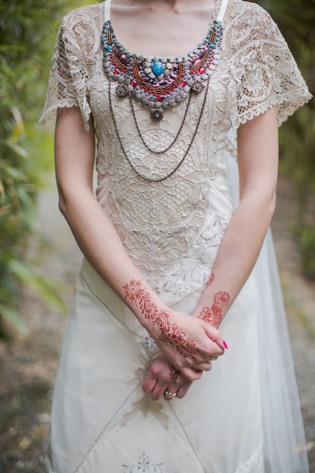 Alice Halliday bespoke lace bridal dress with Bonzie beaded collar http://onefabday.com/liss-ard-estate-wedding-by-magda-lukas/