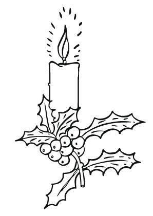 ausmalbild adventskerze mit stechpalmenzweig zum kostenlosen ausdrucken und ausmalen.