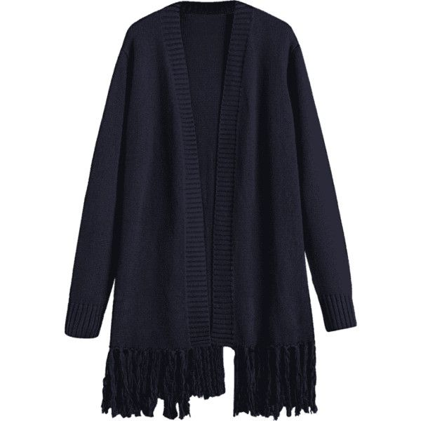 Open Front Fringes Cardigan Purplish Blue (51 BAM) ❤ liked on Polyvore featuring tops, cardigans, zaful, blue cardigan, fringe cardigan, fringe top, open front tops and cardigan top