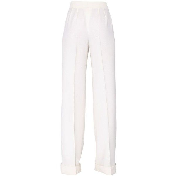 Dolce & Gabbana Women Wide Leg Wool Pants ($785) ❤ liked on Polyvore featuring pants, stitch pants, white wide leg trousers, cuff pants, pleated trousers and wide-leg pants