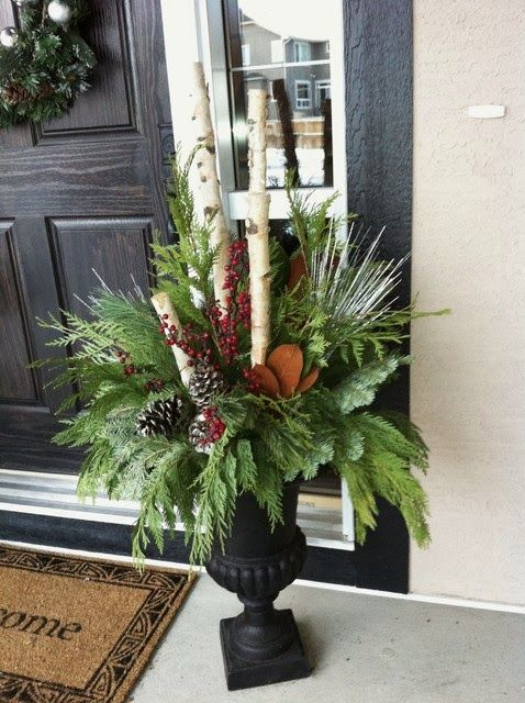 Birch branches, red berries, pine, pine cones, sticks, holiday decorating, porch appeal
