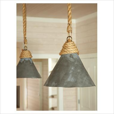 LOVE the rope on these lights.  would look awesome in our new closet: Idea, Beach House, Lighting, Light Fixtures, Dream House, Ropes, Pendant Lights