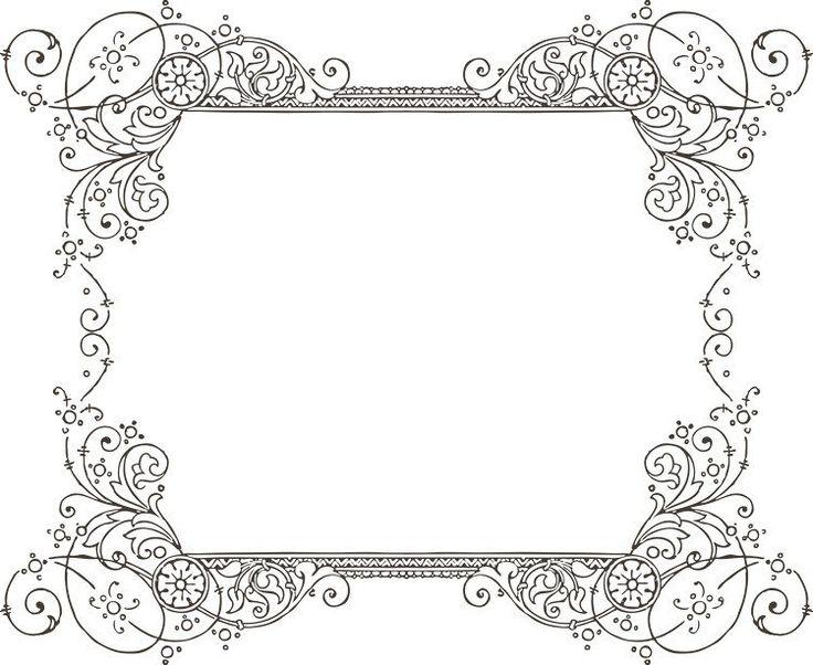 dessins à imprimer style shabby: étiquette à arabesques florales
