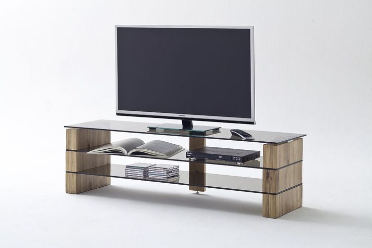 Tv rack holz  Media Tv-Rack 140 Cm Eiche Massiv/ Glas Grau Woody 41-02410 Holz ...