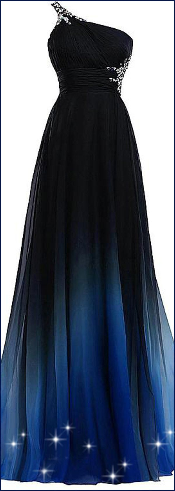 In Stock Chic Gradient Chiffon One-shoulder Neckline A-Line Prom Dresses With Beads