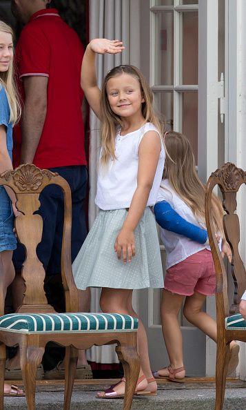 Princess Isabella of Denmark,, views The Guard Change At Grasten Castle on July 24, 2015 in Grasten, Denmark.