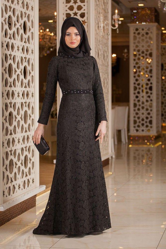 TESETTÜRLÜ ABİYE ELBİSELER - Tesettürlü Abiye Elbise - Boncuk Detaylı Siyah Dantel Tesettür Abiye Elbise 2166S