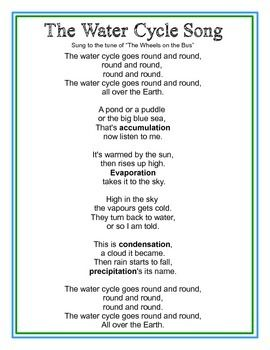 Worksheets Speech In Watercycl reading water and cycle on pinterest sung to the tune of wheels bus this catchy song