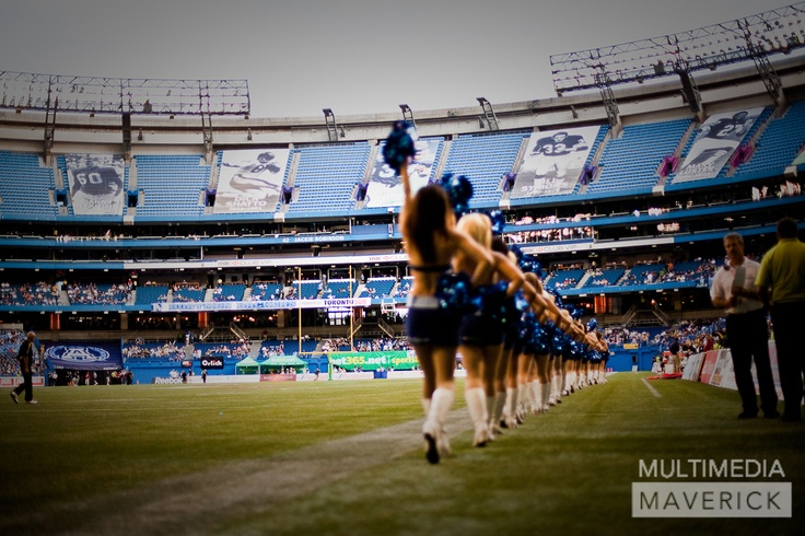 Toronto Argonaut Cheerleaders enter the Rogers Centre -- look how empty it is!