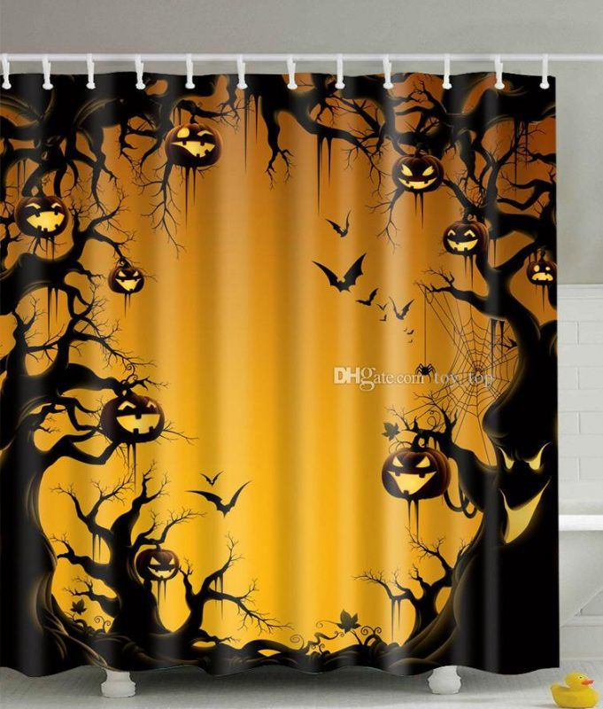 Halloween Shower Curtains Pumpkin Bat Moon At With Images