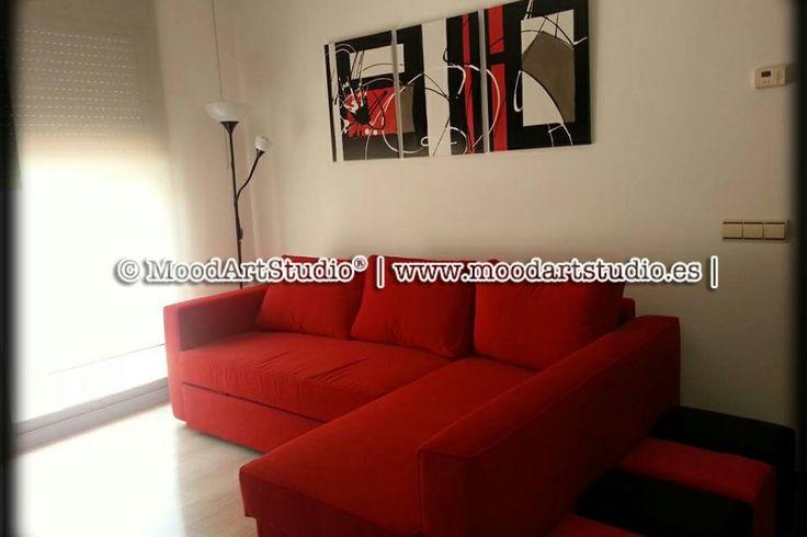 Gracias a nuestra clienta Barbara para mandarnos la foto. Te ha quedado precioso! http://www.moodartstudio.es/es/cuadros-abstractos/100-cuadro-abstracto-rojo-blanco-y-negro-child-of-the-streets.html
