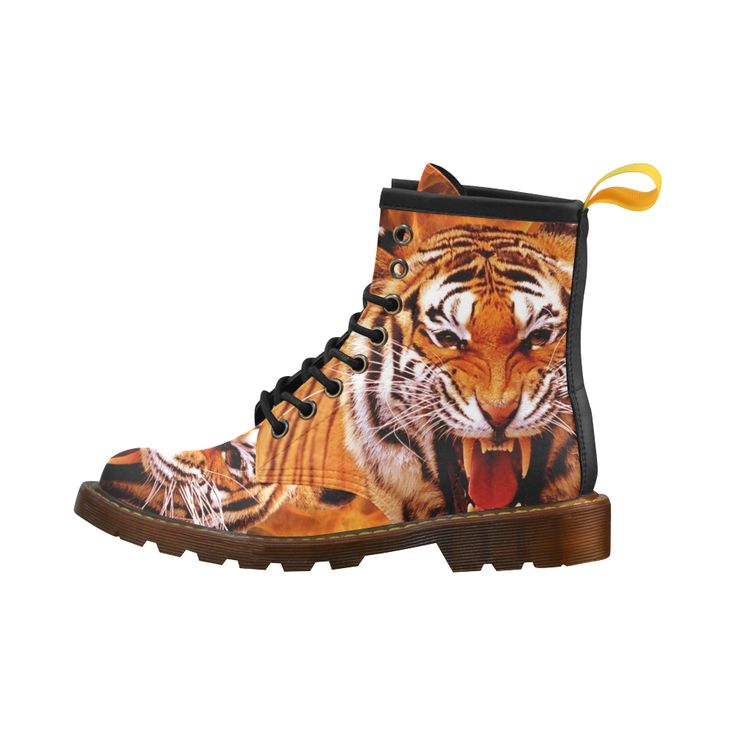 Tiger and Flame Leather Martin Boots For Men #erikakaisersot #artsadd #boots