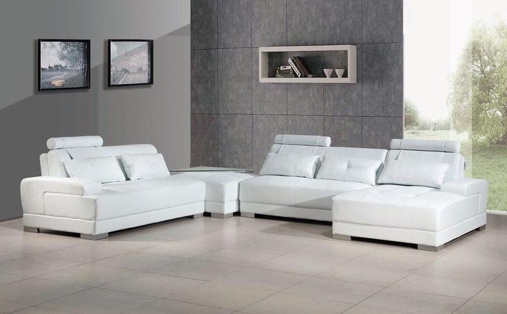Divani Casa Phantom - Modern White Bonded Leather Sectional Sofa w Ott | Classic 2 Modern Furniture Store