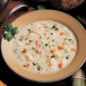 Hearty Potato Soup, I make this all of the time, it is quick and I add small dough balls (spaetzle)