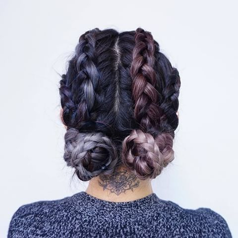 We're all about this duo-tone french braid to braid-buns style in shades of lavender and lilac.