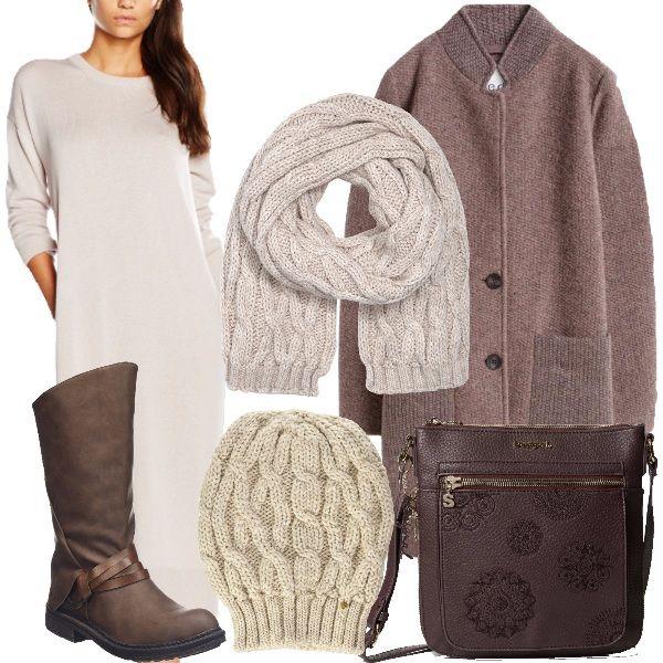 Abito color avorio, lungo al polpaccio, stivali marroni, cappotto con collo alla coreana, color marrone, cappellino e sciarpa color avorio e borsa a tracolla marrone.